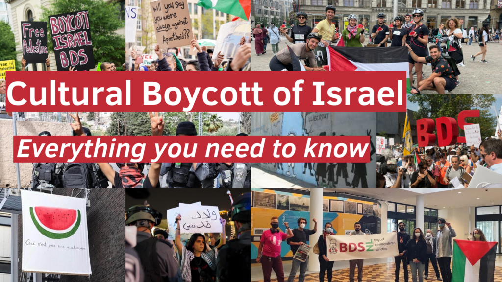 """Title image. Image reads, """"Cultural Boycott of Israel. Everything you need to know""""."""